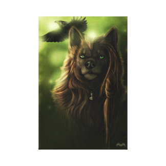 Wolf and Raven Canvas Print