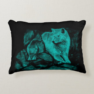 Wolf and Raven in the Night Accent Pillow