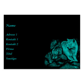 Wolf and Raven in the Night Large Business Card