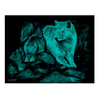 Wolf and Raven in the Night Postcard