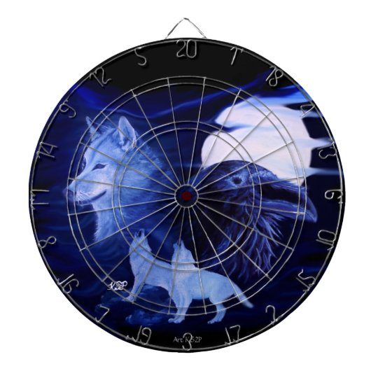 Wolf and Raven with full moon Dartboard With Darts