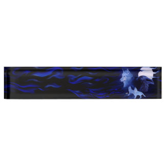 Wolf and Raven with full moon Desk Nameplate