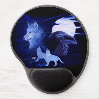 Wolf and Raven with full moon Gel Mouse Mat