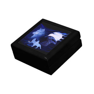 Wolf and Raven with full moon Keepsake Box
