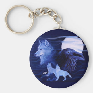 Wolf and Raven with full moon Keychain