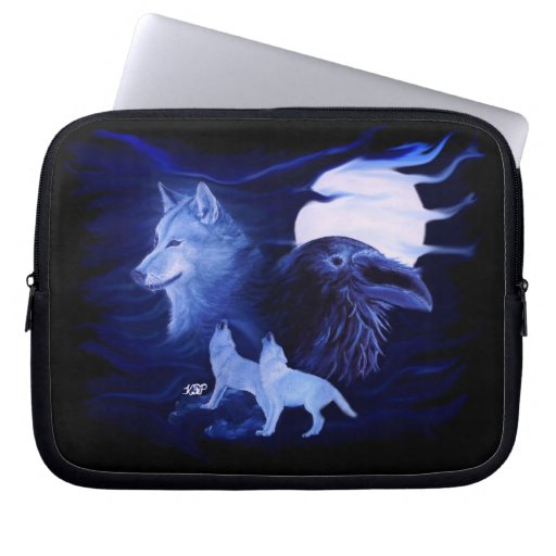 Wolf and Raven with full moon Laptop Computer Sleeve