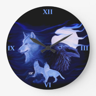 Wolf and Raven with full moon Large Clock