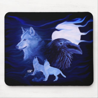 Wolf and Raven with full moon Mouse Pad