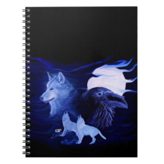 Wolf and Raven with full moon Spiral Note Books