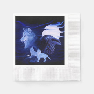 Wolf and Raven with full moon Paper Napkin