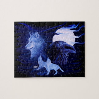 Wolf and Raven with full moon Puzzle