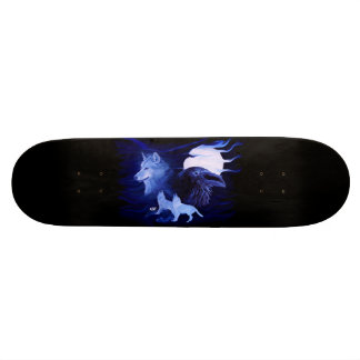 Wolf and Raven with full moon Skateboard