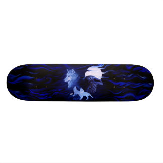 Wolf and Raven with full moon Skateboard Deck
