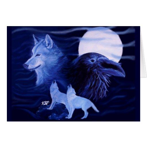 Wolf and Raven with full moon Tarjeta De Felicitación