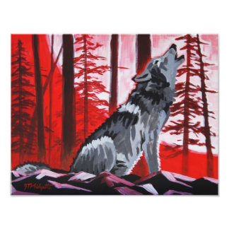 Wolf and red sky photo print