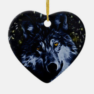 Wolf and stars ceramic ornament