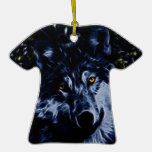 Wolf and stars christmas tree ornament