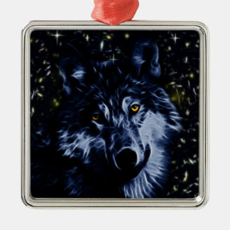 Wolf and stars metal ornament