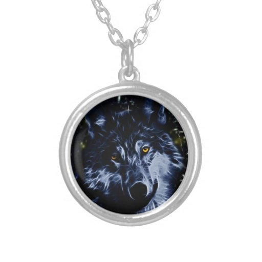 Wolf and stars round pendant necklace