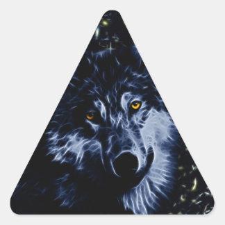 Wolf and stars triangle sticker