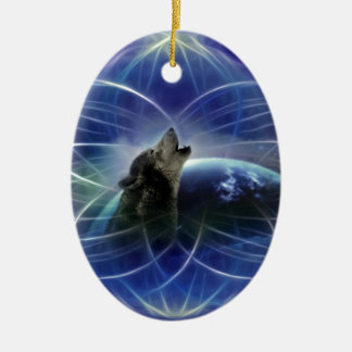 Wolf and the dreamcatcher ceramic ornament