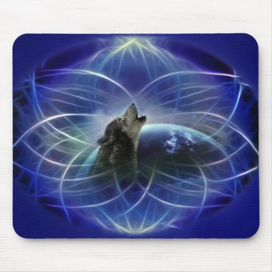 Wolf and the dreamcatcher mouse pad