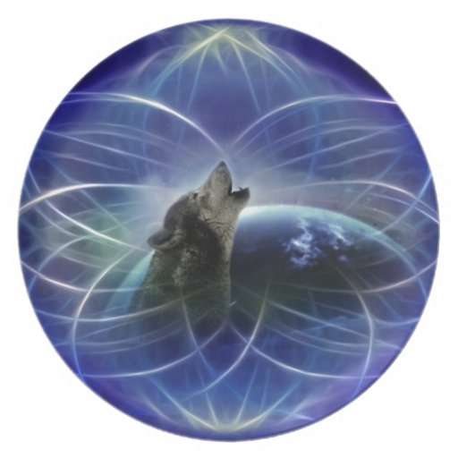Wolf and the dreamcatcher plate