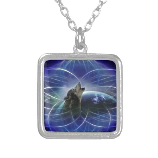 Wolf and the dreamcatcher silver plated necklace
