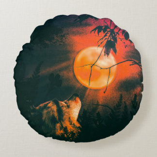 Wolf and The Mead Moon Round Pillow