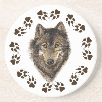 Wolf and Tracks Watercolor  Animal Coaster