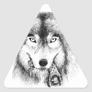 Wolf and Unlucky Little Guy Triangle Sticker