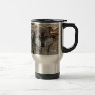 wolf animal face eyes canine forest zoo park travel mug