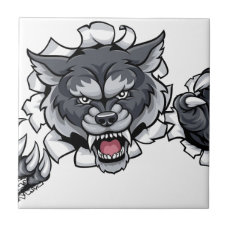 Wolf Animal Sports Mascot Breaking Background Ceramic Tile