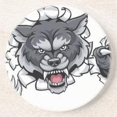 Wolf Animal Sports Mascot Breaking Background Drink Coaster