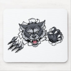 Wolf Animal Sports Mascot Breaking Background Mouse Pad