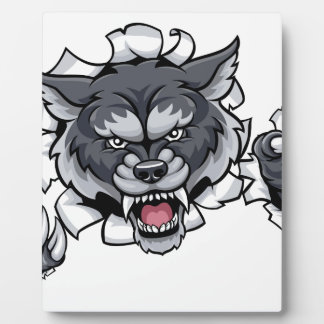 Wolf Animal Sports Mascot Breaking Background Plaque