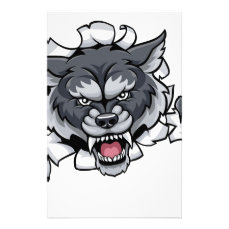 Wolf Animal Sports Mascot Breaking Background Stationery