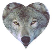 Wolf animal totem heart sticker