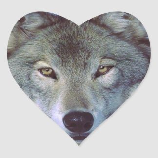 Wolf animal totem heart sticker