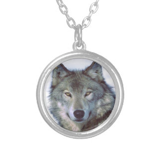 Wolf animal totem round pendant necklace