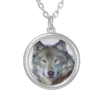 Wolf animal totem silver plated necklace