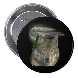 wolf art 3 inch round button