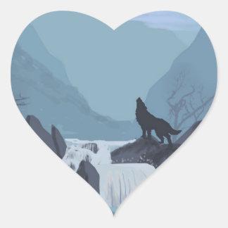 Wolf Art Heart Sticker
