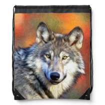 Wolf Art Painting Drawstring Backpack
