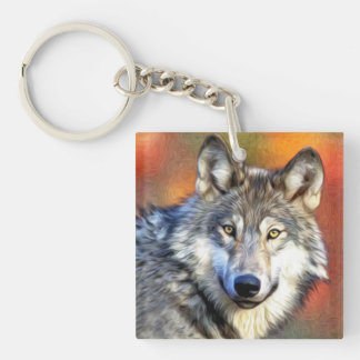 Wolf Art Painting Keychain