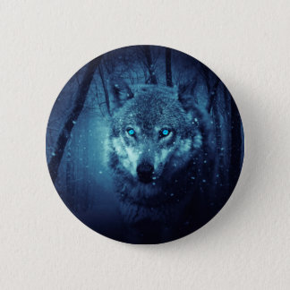 Wolf art - white wolf - snow wolf - lupus wolf button