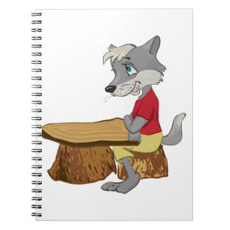 Wolf At A Table Spiral Notebook
