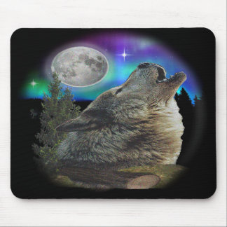 Wolf at night art mouse pad