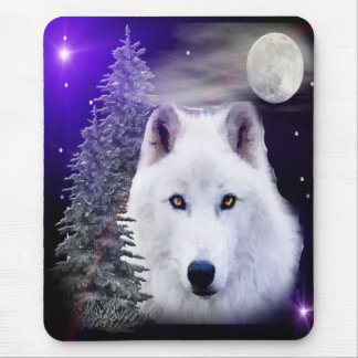 wolf at night mouse pad