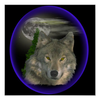 wolf at night poster